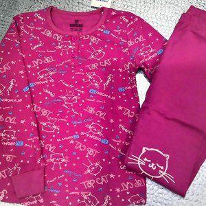 Girl Pink Pajama Set Cat Kitty Print